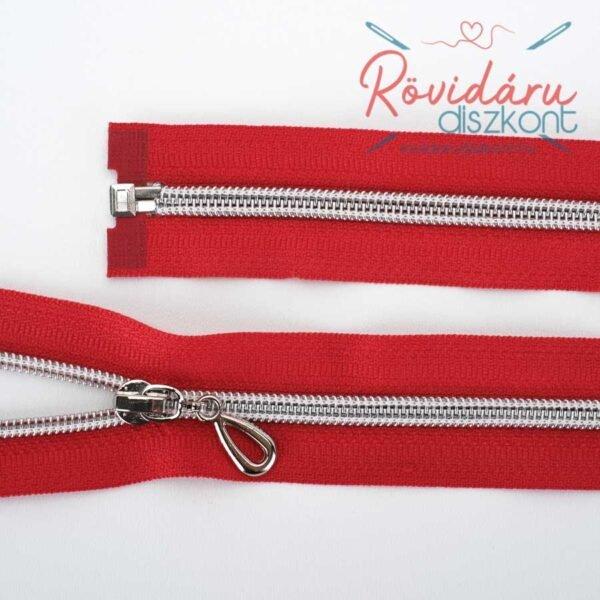 Cipzár bontható, piros, ezüst spirál, 65 cm