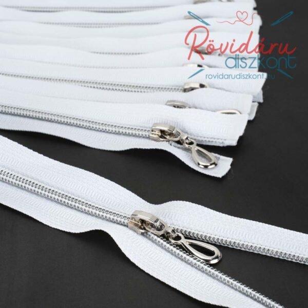 Cipzár bontható, fehér, ezüst spirál, 65 cm