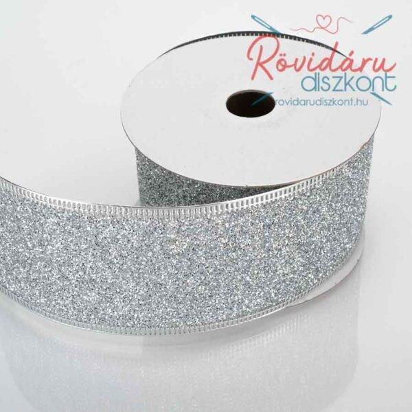Csillogó ezüst szalag alakítható szegéllyel 5 cm 5 méter