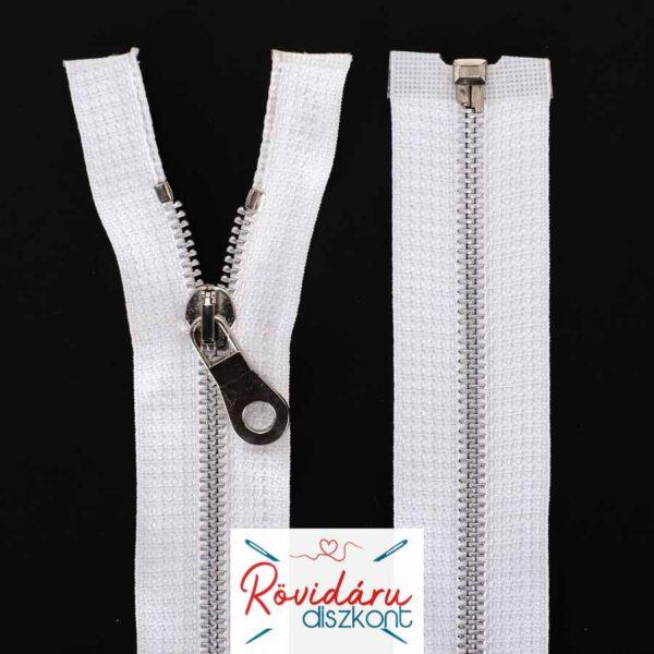 Cipzár bontható, fehér, 5# fém spirál, 65 cm